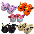 "1 Pair Anime Cartoon Poke  Pokeball Pikachu Eevee Umbreon Sylveon Plush Shoes Home House Winter Slippers 11""28cm"