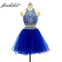 Платье для выпускного вечера 2019 Королевское синее платье с камнями выше колена разных цветов Robe De Soiree