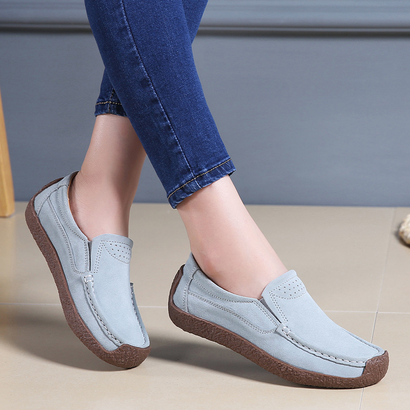 QPFJQD Spring Autumn Women Flats   Leather   Shoes Female Loafers Slip On   Suede   Sneaker Mocasines Mujer For Ladies Shoe 2019 New