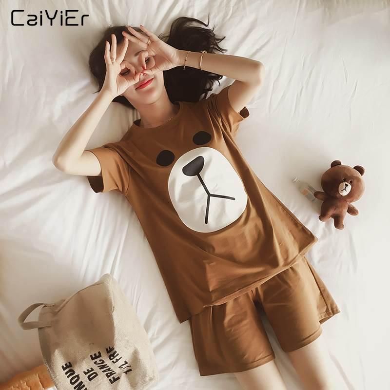 Caiyier Cute Bear Pajamas Sets O-Neck Ladies Short Sleeve Sleepwear Suit Girl Summer Nightgown Cartoon Print Homewear Pyjamas
