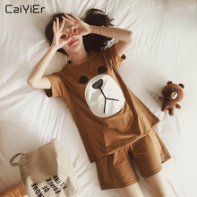 Caiyier Cute Bear Pajamas Sets O-Neck Ladies Short Sleeve Sl