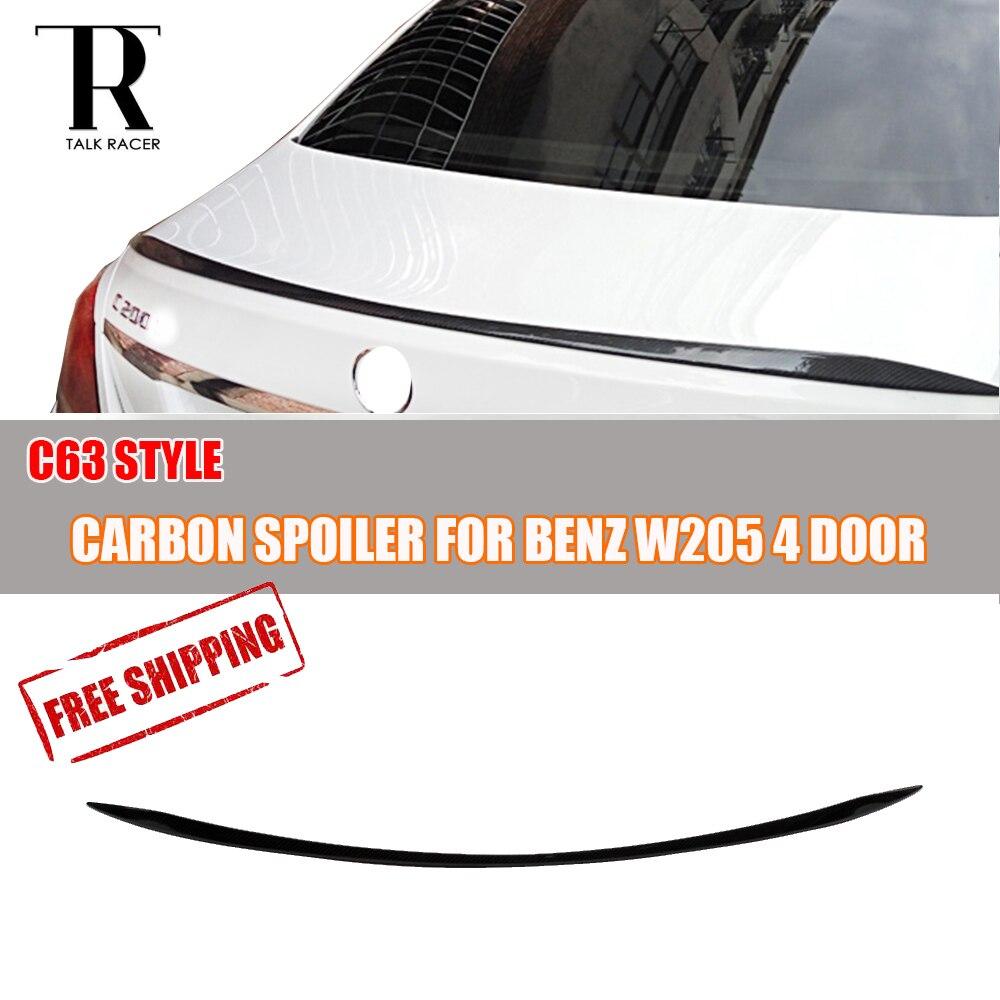 C63 Style W205 En Fiber De Carbone Arrière Lip Spoiler Wing pour Mercedes-Benz W205 C180 C200 C220 C250 C300 C350 C63 Sedan 2015 2016 2017