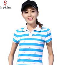 2017 Summer Short Sleeve Polo Striped Tops For Women Causal Plus Size Polo Woman camiseta Polo