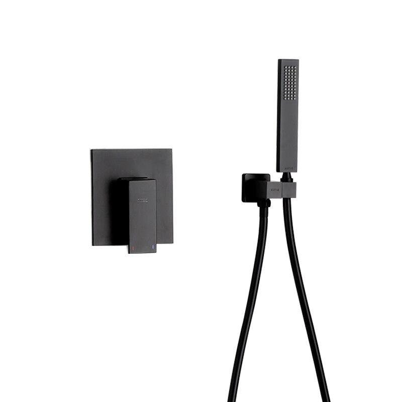 Pommeau de douche à main abs noir mat avec tuyau en pvc et support de support avec Kit de Valve de douche IS978