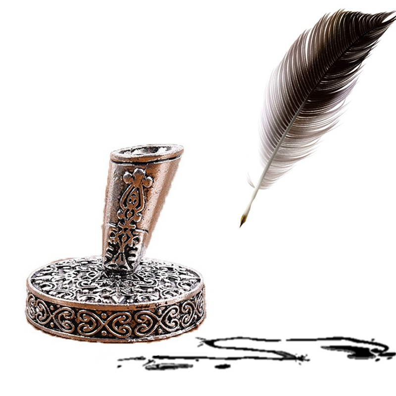 European Feather Pen Stand Metal Round Pen Holder Office School Pen Accessories Stationery Gift