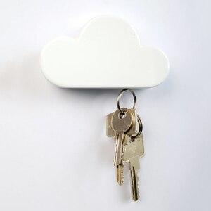 Image 2 - 키 홀더 크로 셰 뜨개질 핑크 옐로우 블루 구름 모양 자석 벽 키 홀더 키 화이트 안전하게 벽 후크/키