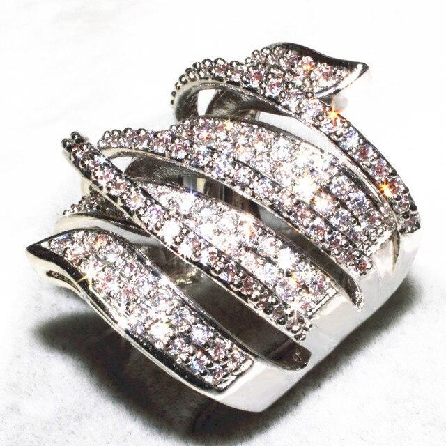 Victoria Wieck Pave 170 PCS Topaz simulado diamante 10KT ouro branco anel de casamento cheio para mulheres Sz 5 - 11 presente