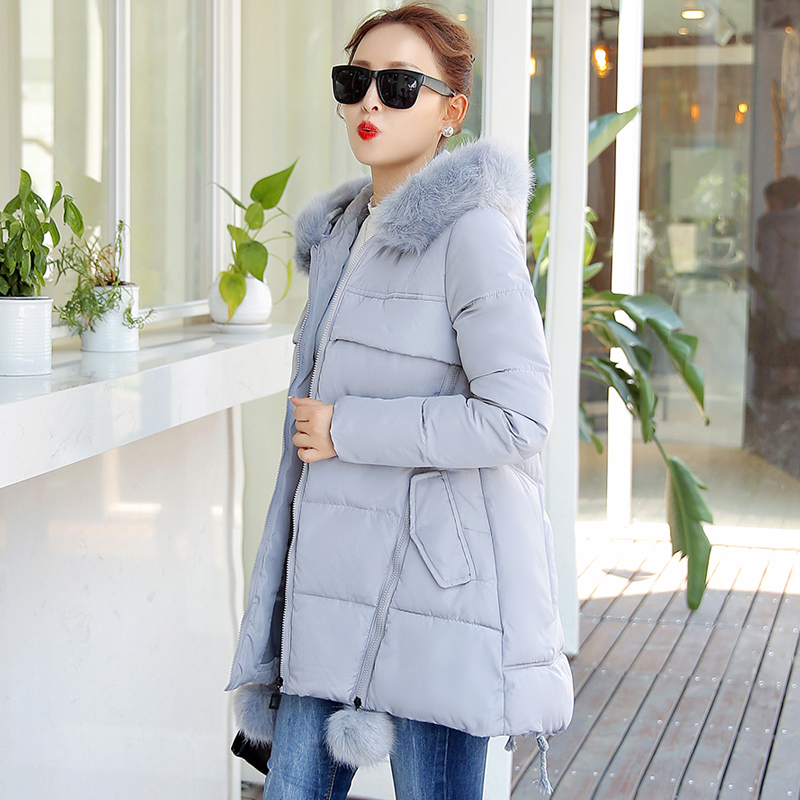 Winter Women Coat Cotton Long Jacket Solid Color Fur Collar Parkas Hooded Casual Warm Ladies Outerwear Female Fashion Clothing 2015 winter jacket women cotton padded jacket women fur collar ladies winter coat thickening outerwear long denim parkas h4451
