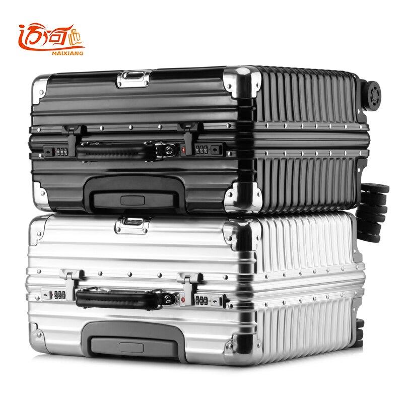 Lega di magnesio alluminio metallo puro maleta cabina affari vintage valigia bagaglio 16 inch 18 pollice retro spinner viaggio scatola
