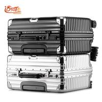 Pure metal aluminum magnesium alloy maleta cabina business vintage suitcase luggage 16inch 18 inch retro spinner travel box