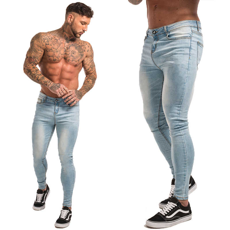 a96833b4efbc ... Gingtto Skinny Jeans For Guys Stretch Jeans Light Blue Ripped Denim  Jeans For Men Slim Fit ...