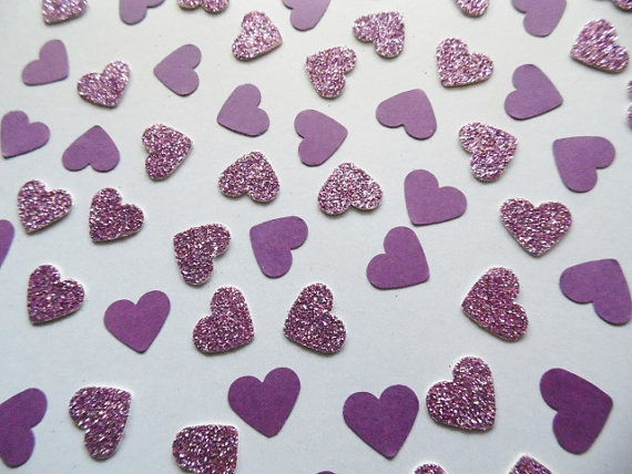 Purple Heart Glitter , Table Scatter, Party Decoration, Bridal Shower Decor, Wedding Grape,cft Table decor scrapbook Confettis