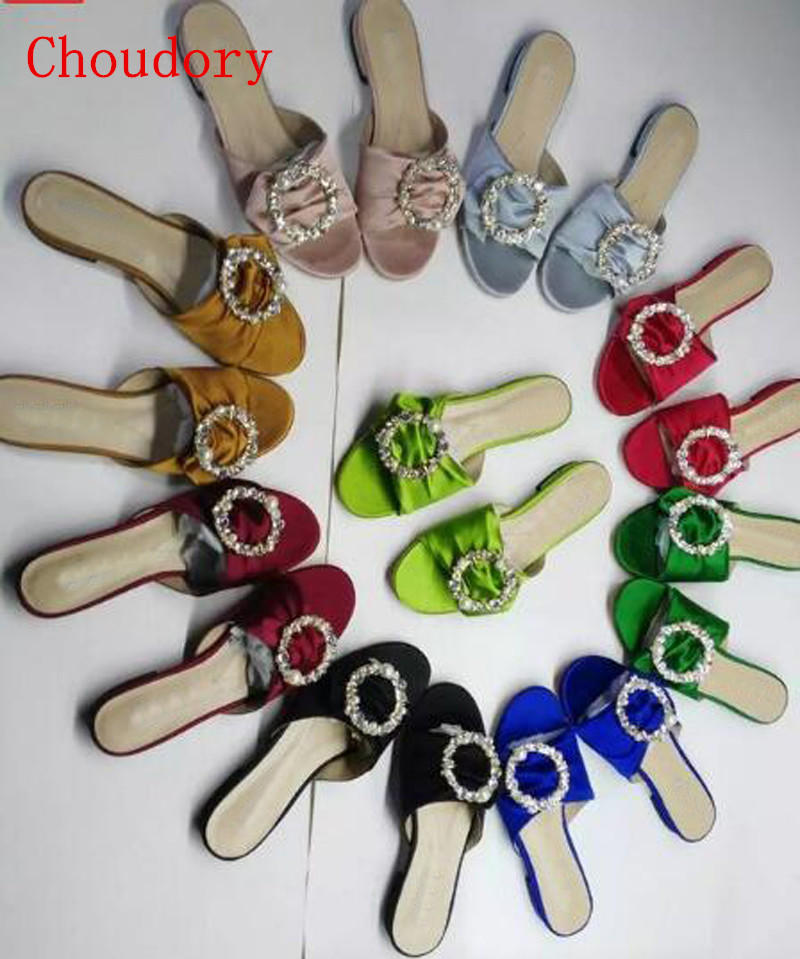 ФОТО Luxury Royal Silk Slippers For Women Bling Bling Crystal and Pearl Decor Circle Summer Shoes Colorful Flat Slippers