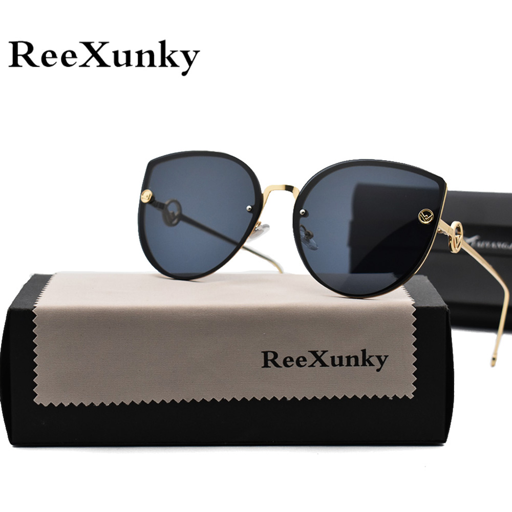 2019 Cat Eye Vintage Brand Designer Black Mirror Sunglasses For Women Metal Frame Reflective Lens Sun Glasses zonnebril dames(China)