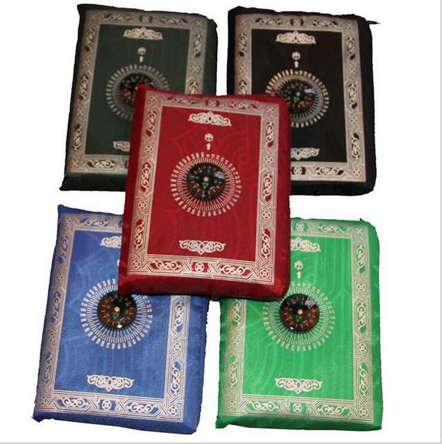 100 PCS ใหม่ล่าสุดมุสลิมเสื่อสวดมนต์กับเข็มทิศ 4 สี DHL Fedex จัดส่งฟรี