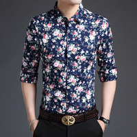 New Arrival Autumn Mens Flowers Dress Shirt 100 Cotton Male Shirt Long Sleeve Floral Printed Man