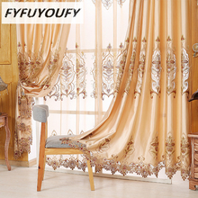 Фотография Europe  luxury Polyester/Cotton Blackout Curtains for Living Room Bedroom Embroidered Sheer Cloth Curtain Panels Floral Pattern