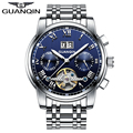 Famous GUANQIN 2016 New Tourbillon Mechanical Watches Men Steel Strip Waterproof Automatic Watch Big Calendar montre homme