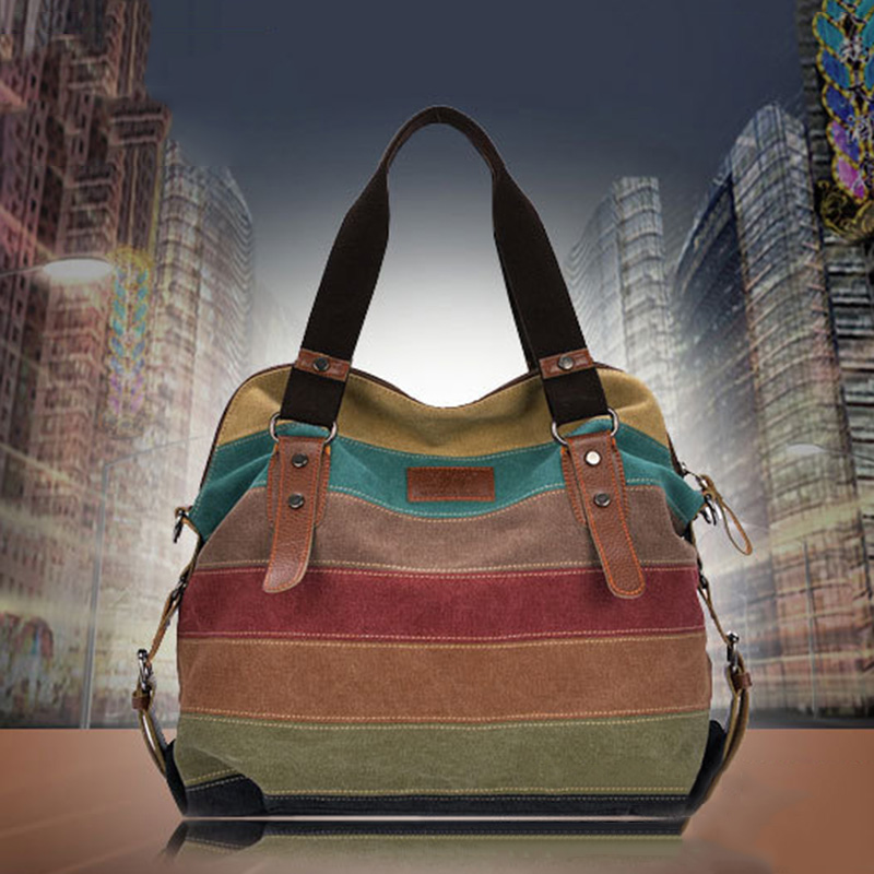 New Large Capacity Vintage Women Shoulder Bags Satchel Crossbody Tote Handbag Purse Ladies Messenger Canvas Fashion Shopping Bag