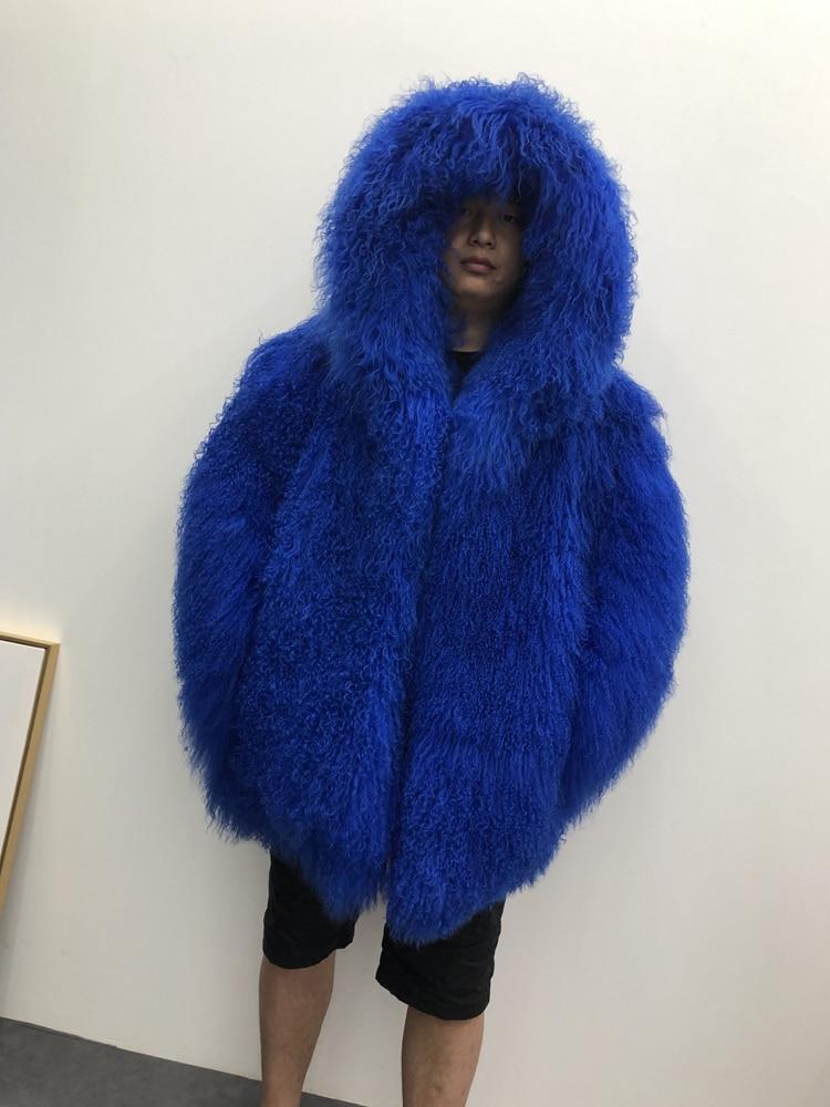 HTB171rXXKH2gK0jSZFEq6AqMpXaL 2019 Men's real mongolian sheep fur coat hooded warm winter outerwear lapel beach wool fur overcoat long sleeve Jacket