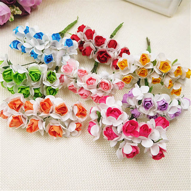 10pcsartificial paper flowers double color small rose bouquet 10pcsartificial paper flowers double color small rose bouquet wedding decoration diy wreath hair collage mightylinksfo