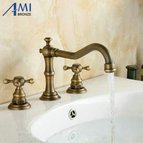 3Pcs Faucet Sets Antique Brass Double Handle Bathroom Bathtub Basin Sink Mixer Tap Faucets