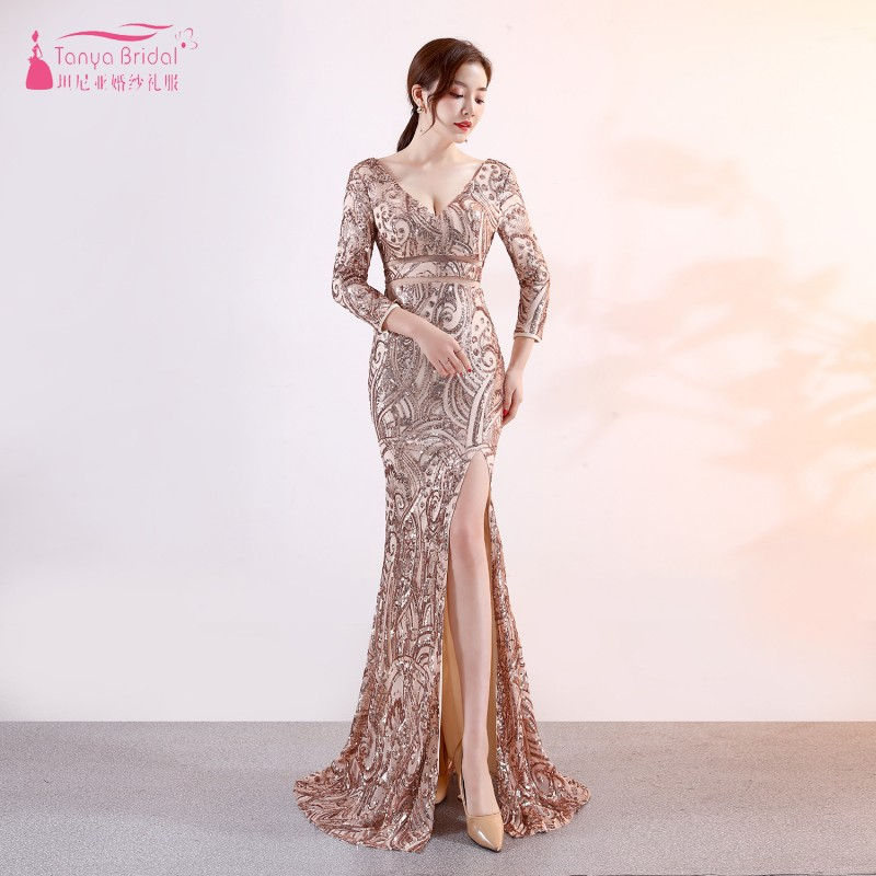 Gold Sequined Bridesmaid Dresses 2019 New Fashion Mermaid Three quater Sleeve Wedding Guest Gowns Formal Wear  ZB087