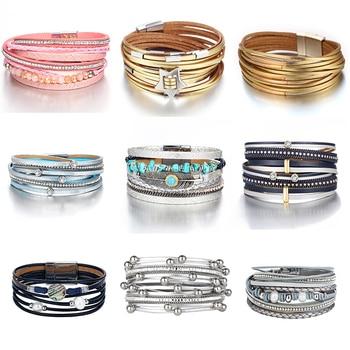 IF YOU Fashion Pearl Multilayer Leather Vintage Charm Pendant Bracelets 1