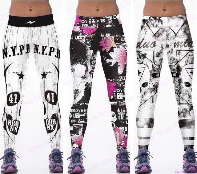 ca9e1e18e52d1 Newest Pink Flowers Running Trousers Skull Leggings Gym Fitness Sports  Jogging Cross Skull Yoga Pants Women Tight 3D Print