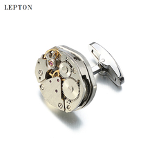 Hot Immovable Watch Movement Cufflinks for Mens Can't Move Watch Mechanism Cuff links Stainless Steel Steampunk Gear Cufflinks