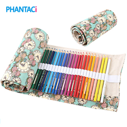 Creative 36/48/72 Holes Color Pencil Case Canvas Roll Pouch Makeup Cosmetic Brush Pen Storage Box Estuches School Stationery