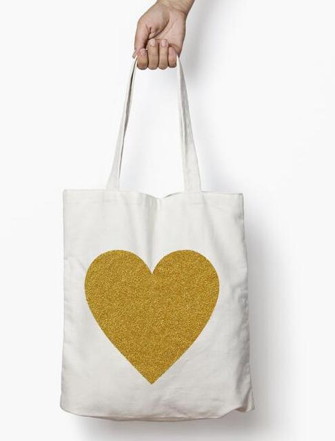 custom wedding bridesmaid gold glitter heart tote bags champagne