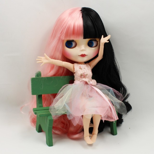 TBL Neo Blythe Doll Pink Black Hair Jointed Body