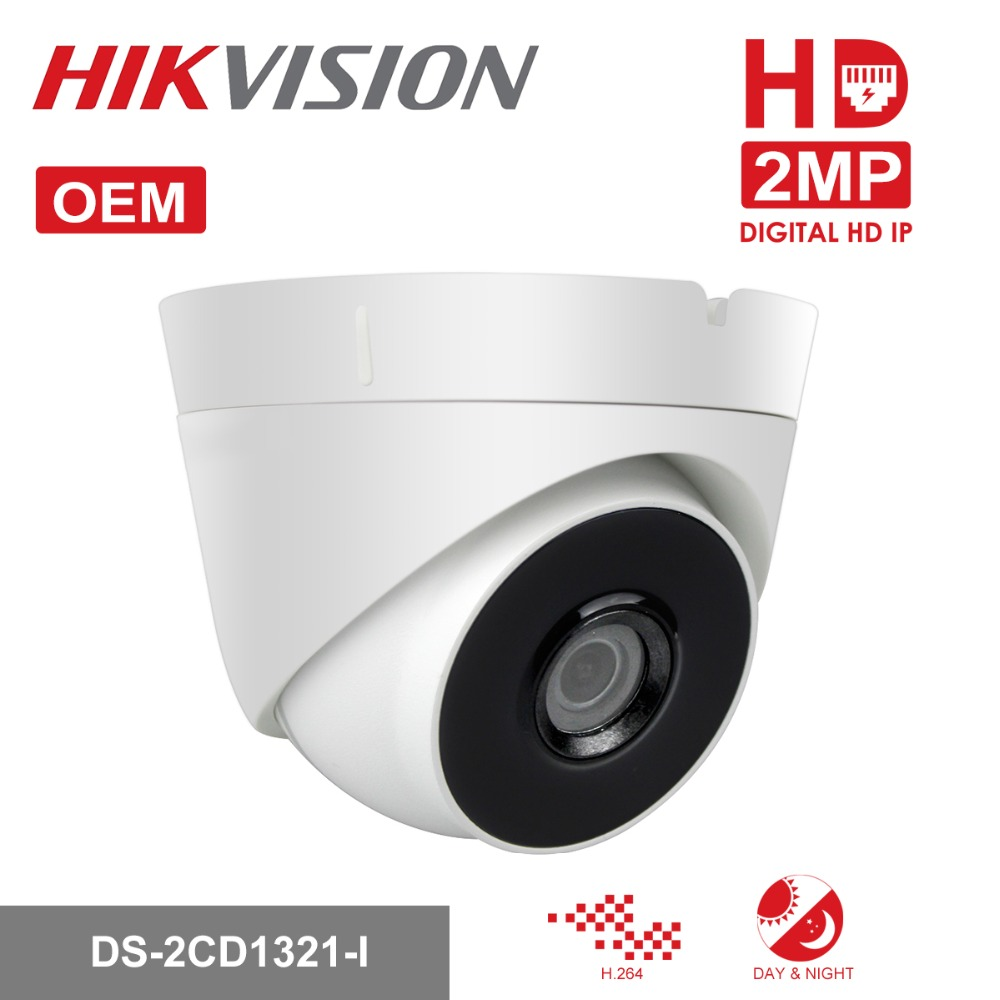 In Stock HIKVISION Security Camera DS-2CD1321-I OEM 2.0 MP CMOS Network Turret IP Camera Full HD CCTV Camera with Brown Box in stock hikvision full hd 1080p security ip camera ds 2cd1141 i 4 megapixel cmos cctv dome camera poe replace ds 2cd3145f i