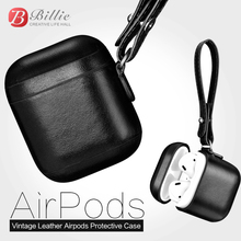 For Apple Airpods Case Top Genuine Leather for airpods 2 Vintage Design Protective Earphone accessories Cover
