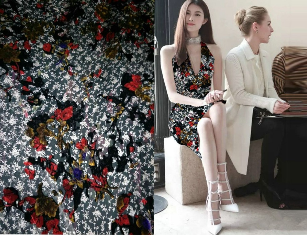 2018 New Fashion Red Flowers Prints 100% Silk Fabric Silk Velvet Fabric 115*100CM Material Tulle Haircoton Tissu Wholesale Telas