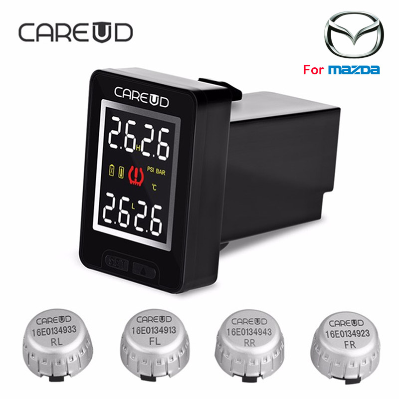 CAREUD U912 Car Wireless TPMS Tire Pressure Monitoring System with 4 External Sensors LCD Display Embedded Monitor For MAZDA u912 car tpms wireless auto tire pressure monitoring system 4 sensors lcd embedded monitor for toyota honda