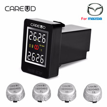 CAREUD U912 Car Wireless TPMS Tire Pressure Monitoring System with 4 External Sensors LCD Display Embedded Monitor For Mazda