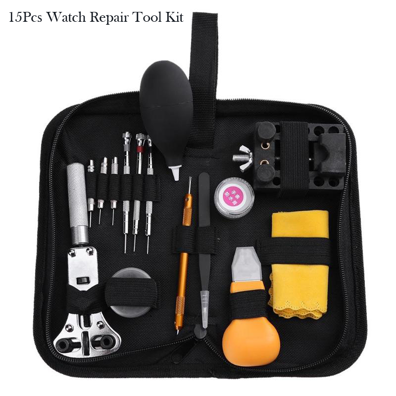 15Pcs Watch Repair Tool Kit Metal Adjustment Set Band Case Opener Link Spring Bar Remover Watchmaker Tools For Watch все цены