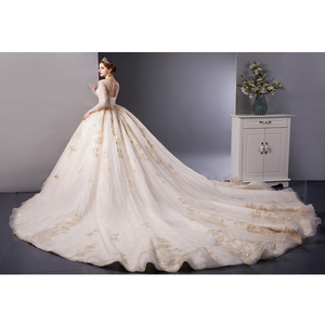 Image 3 - SL 6103 Gold Lace luxury long sleeves ball gown wedding dress bridal dresses wedding gowns royal train