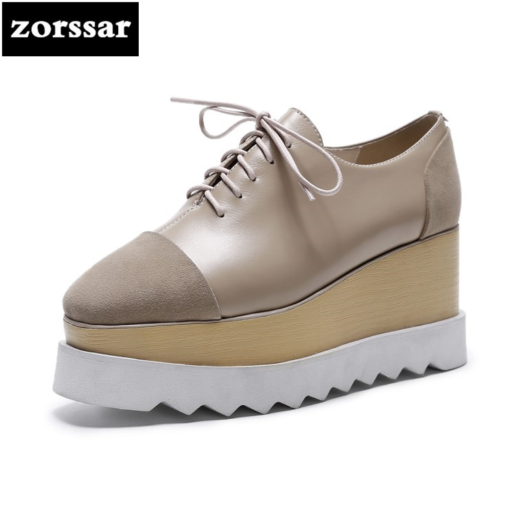 {Zorssar} 2018 NEW Genuine Leather womens Platform shoes Lace-up Square toe Wedges High heels casual Creepers shoes SIZE 33-40 genuine cow leather spring shoes wedges soft outsole womens casual platform shoes high heel round toe handmade shoes for women