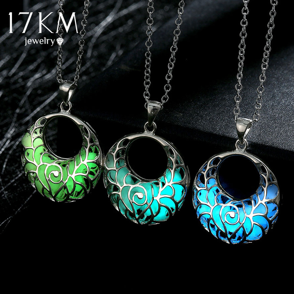 17KM Brand New Statement Neclace Hollow Out Heart Pendant Glow In Dark Long Necklace For Women Water Drop Glowing Maxi Necklace