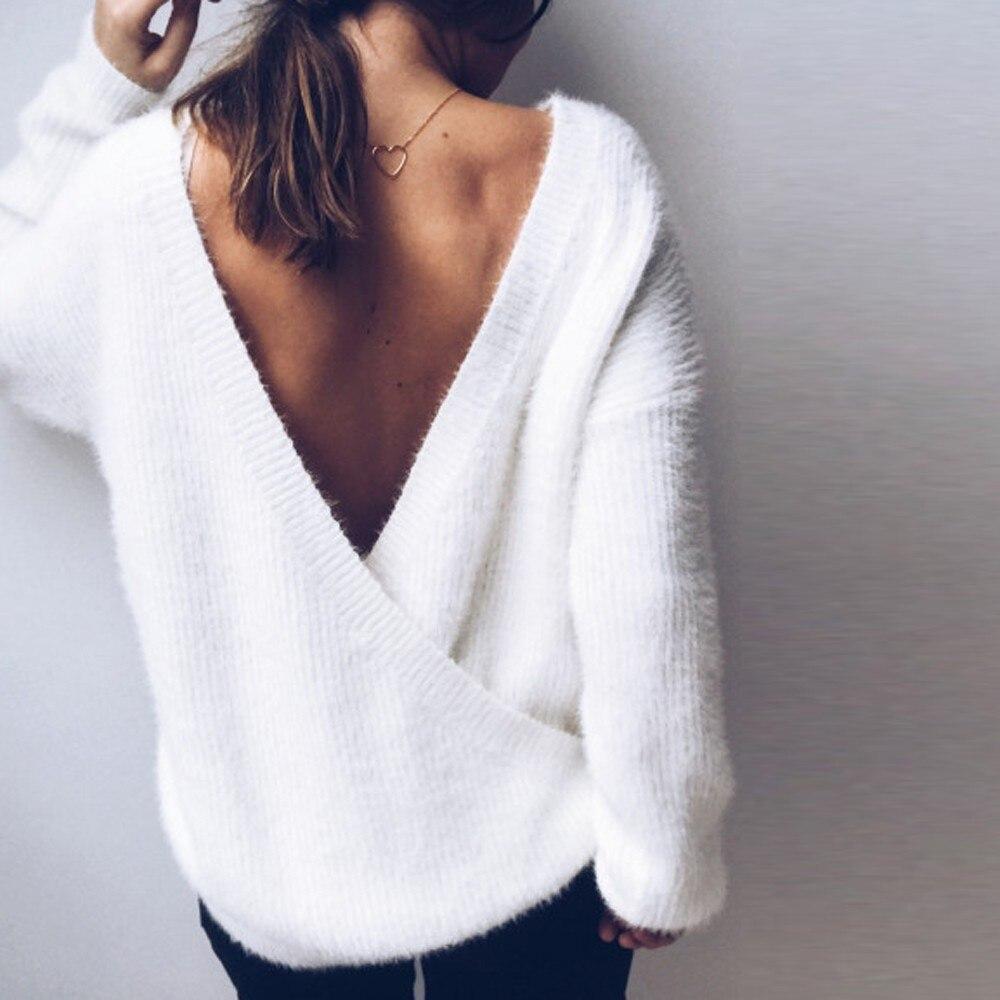 a3508aa96 Moda Decote Em V Profundo Branco Mulheres Camisola Ocasional Pullover  Jumper de Colheita Top Cropped Sexy Puxar Femme WhiteTee Básico Malhas   GHC