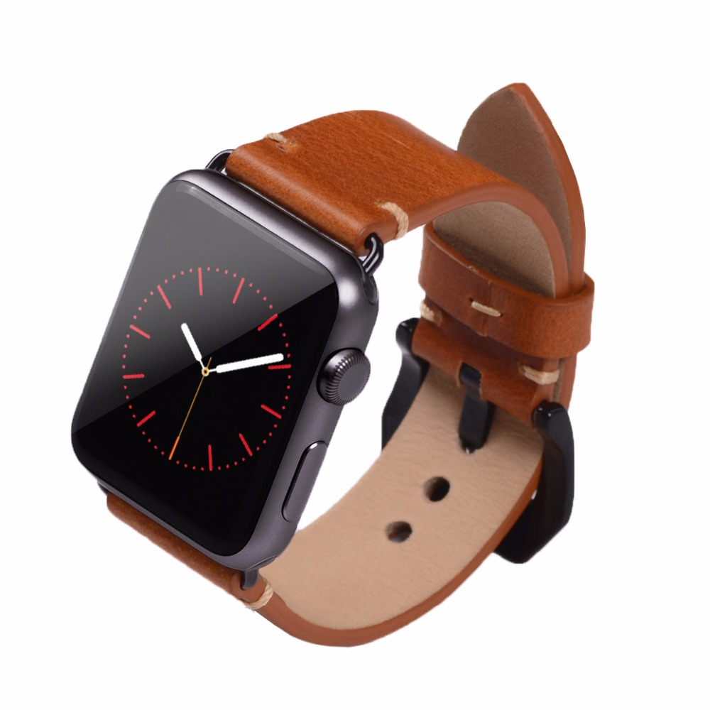 Prix pour EACHE 38mm 42mm Brun De Montre De Remplacement Fit Pour Apple Watch tannage Végétal cuir Regarder la Bande Sangles Pour Femmes Ou homme