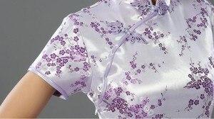 Image 3 - Pink Chinese Traditional Dress Sexy Women Satin Qipao Long Cheongsam Flower Plus Size S M L XL XXL XXXL 4XL 5XL 6XL LG03