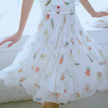 LYNETTE'S CHINOISERIE 2016 Summer New Original Design Women High Quality Painting Insect Print Sweet Flowing Chiffon Skirt