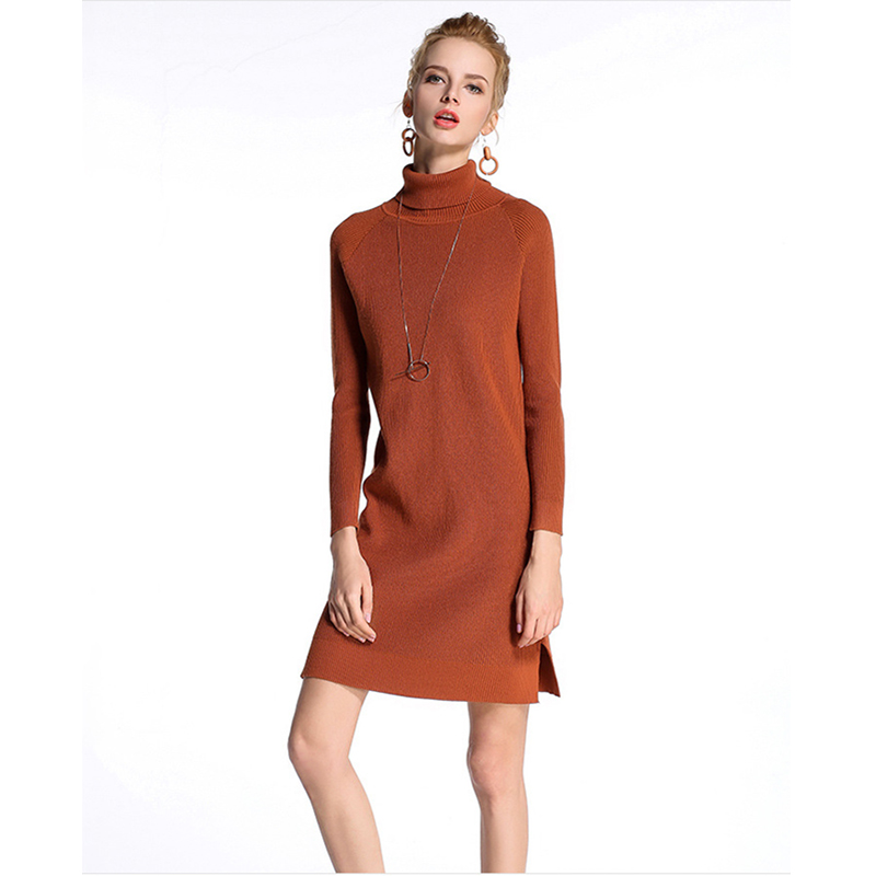 Turtleneck Sweater Knitted Dresses Female 2018 Spring Autumn Women Long Sleeve Loose Dress Knitted Sweater Dresses For Women