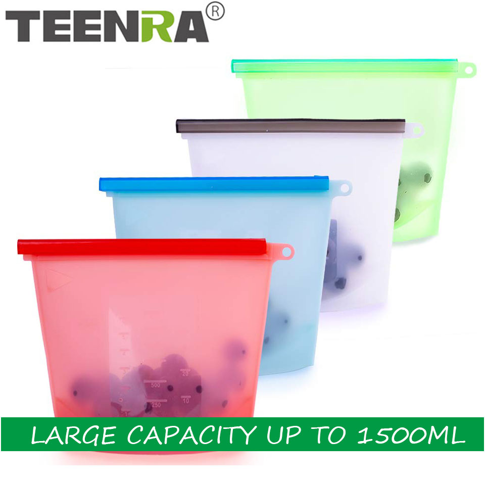 TEENRA 1500ML Reusable Silicone Fresh Bags Vacuum Sealer Fruit Meat Zip Food Containers Wrap Kitchen Tools