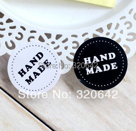 400pcs free shipping hand made packing stickers,gift stikcers and labels,3.5cm bakery white/black packing paper stickers