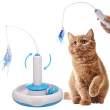 Cat Interactive Toys Electric Rotate Feather Toys Spinning Teaser Wand Motion Cat Toy Automated Activity Toy for Cats Kitten